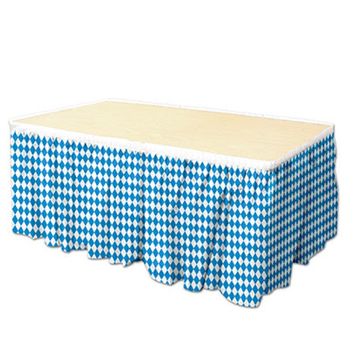 Oktoberfest Bavarian Flag Pleated Plastic Table Skirting