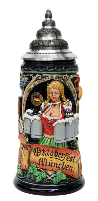 Munich Oktoberfest Ceramic Beer Mug with Handle for Holding