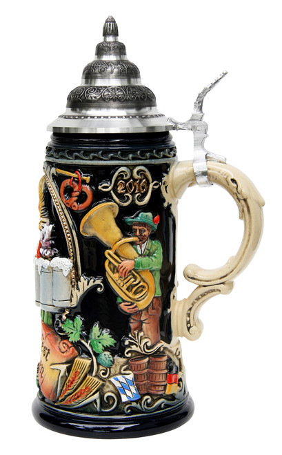 Authentic German Party Mug with Beer Girl Art