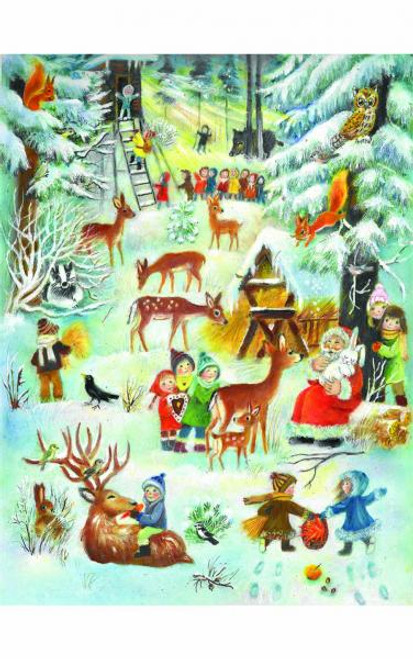 Children with Woodland Animals German Advent Calendar