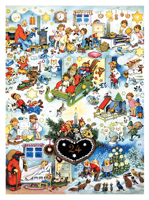 Santa with Toys & Children German Advent Calendar