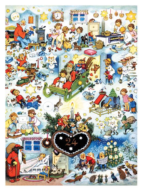 Santa with Toys & Children German Advent Calendar