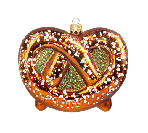 Hand Painted Traditional German Glass Pretzel Christmas Ornament