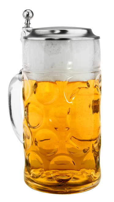 Dimpled 1 Liter Glass Beer Mugs for Sale