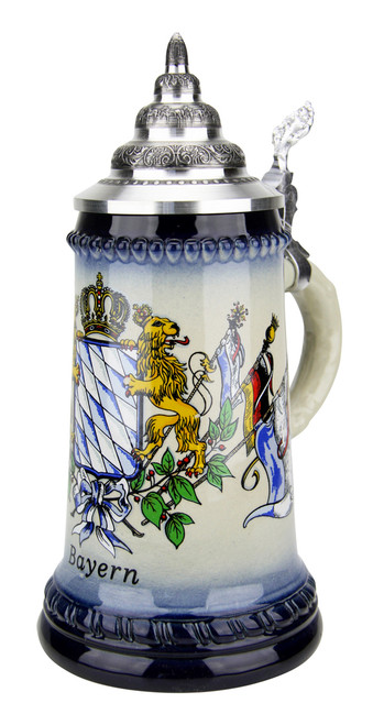Bavarian Lions and Crown Coat of Arms Beer Stein