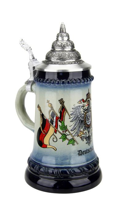German Beer Stein with Eagle Crest & German Flags