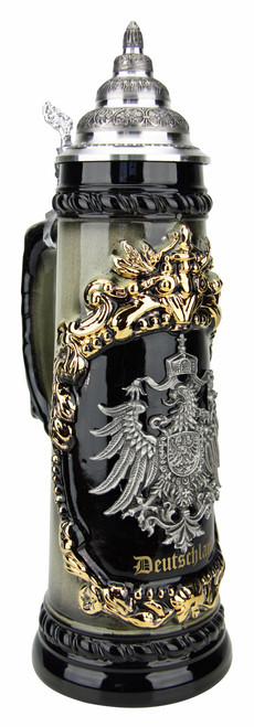 Deutschland German Eagle Beer Stein with Pewter Eagle | 1 Liter