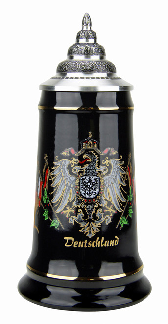 Deutschland Eagle Crest and Flags Black Glaze Beer Stein
