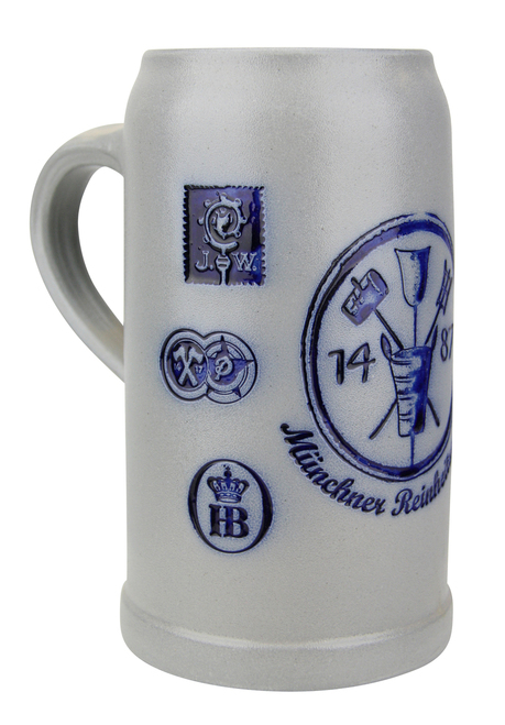 Munich Purity Law 1487 1 Liter Salt Glaze Stoneware Beer Mug