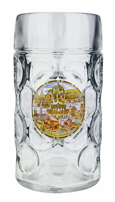 Personalized 1 Liter Beer Mug with German Landmarks