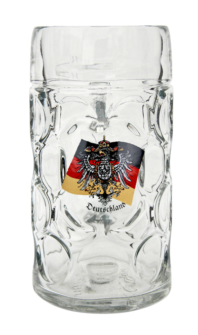 1 Liter Glass Beer Mug with Traditional German Crest