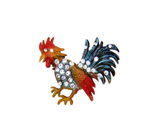 Rooster with Rhinestones German Hat Pin