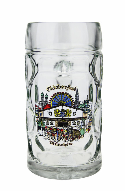Authentic 0.5 Liter Oktoberfest Beer Mug with Munich Painting