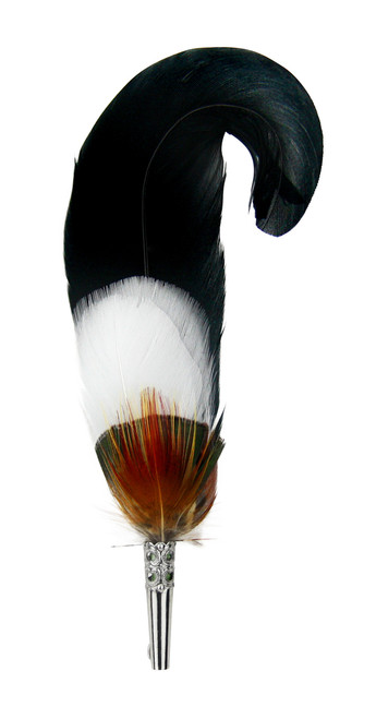 Curled Black Feather Hat Pin