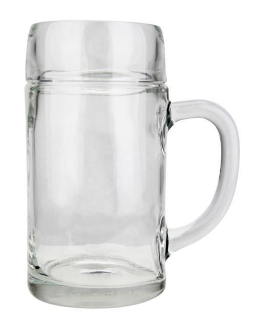 Left Side View, 1 Liter Styria Smooth Body Oktoberfest Glass Beer Mug , Empty