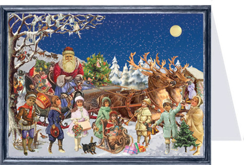 Children near Santa's Sleigh German Advent Calendar Christmas Card