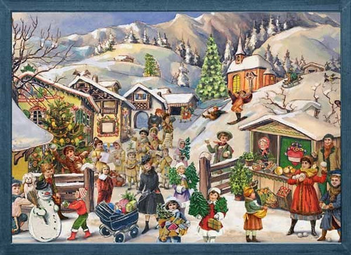 Winter Mountain Village German Advent Calendar
