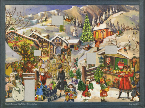 German Advent Calendar Shown with Some Doors Open