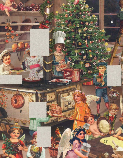 Victorian Angel Bakery German Advent Calendar with Opened Windows