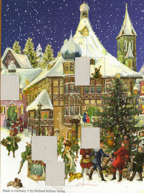 Winter Town German Advent Calendar Shown with Open Windows