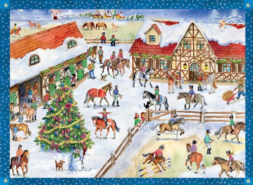 Horse Stable at Christmastime German Advent Calendar