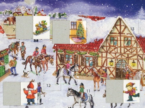 German Christmas Calendar showing the windows open