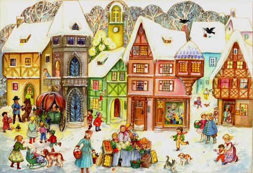 Christmas calendar with some windows shown open