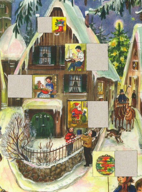 German Advent Calendar Shown with Some Windows Opened