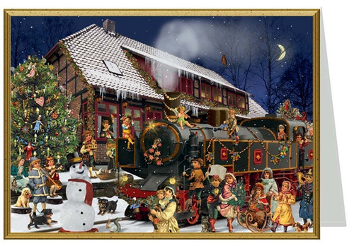 Snowy Victorian Train Station German Christmas Card