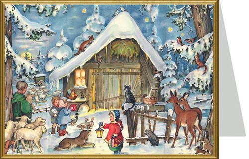 Jesus in the Manger German Christmas Card