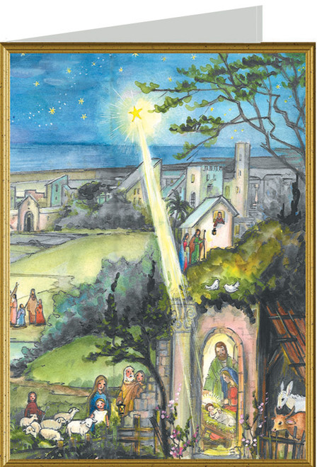 Bethlehem Manger German Christmas Card