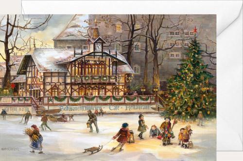Schwanenschlosschen in Freiberg German Christmas Card
