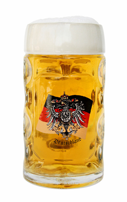 .5 Liter German Flag with Eagle Crest Glass Beer Mug Filled with Beer