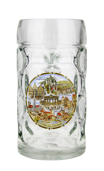 .5 Liter Traditional Mass Krug with German Landmarks