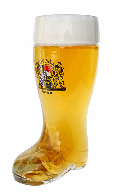 Bayern Crest Glass Beer Boot 0.5 Liter
