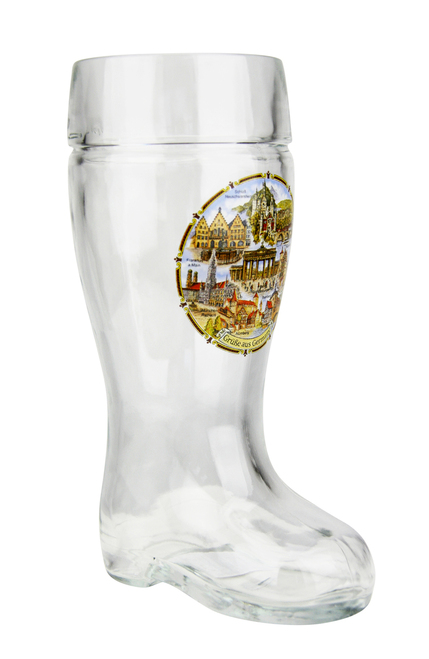 Personalized .5 Liter Beer Boot with German Landmarks