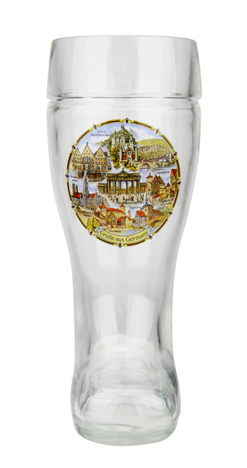 .5 Liter Beer Boot with Traditional German Landmarks