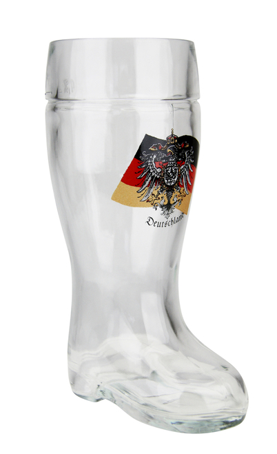 German Eagle Flag Crest Glass Beer Boot 0.5 Liter