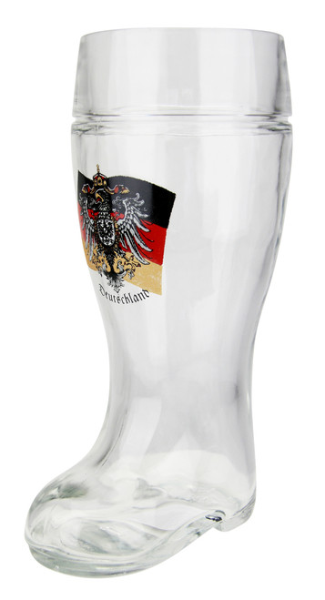 German Eagle Flag Crest Glass Beer Boot 1 Liter