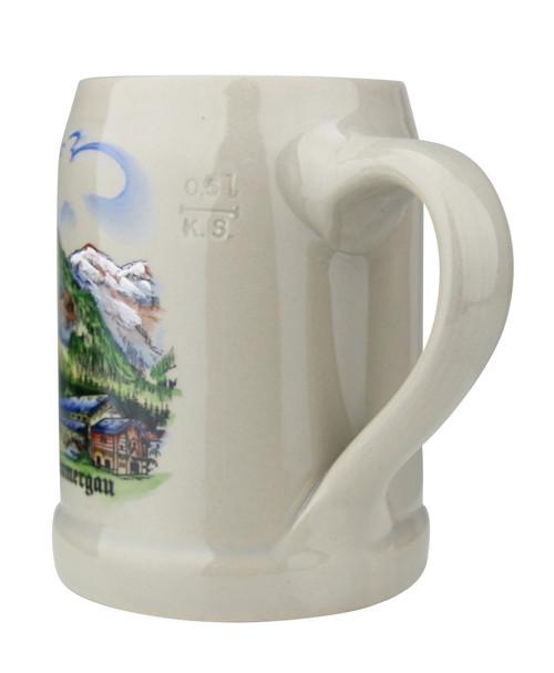 Oberammergau German Stoneware Beer Mug 0.5 Liter
