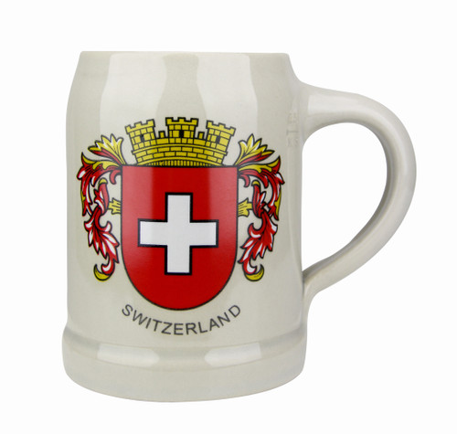 Swiss Crest German Stoneware Beer Mug 0.5 Liter