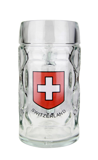 ".5 Liter Dimpled Glass Beer Mug with Swiss Cross & ""Switzerland"""