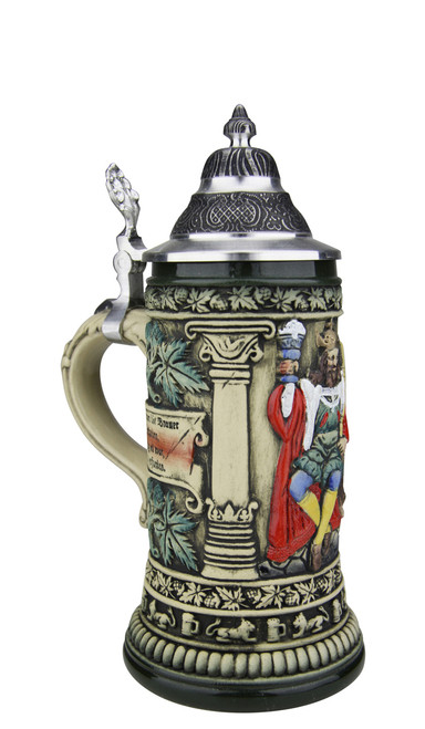 Hand Painted Rustic German Beer Stein with German Poem