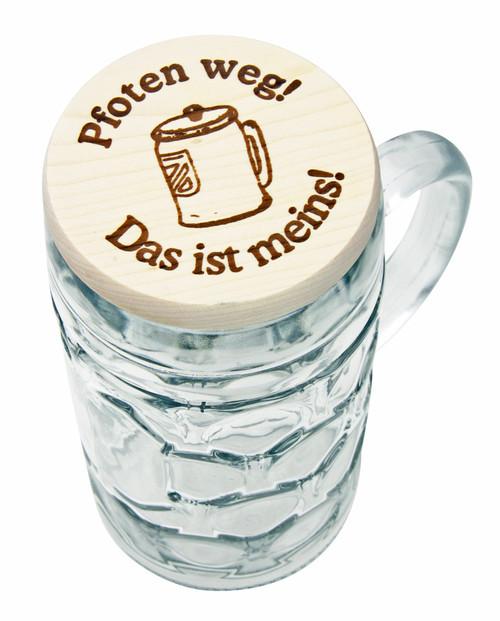 Wooden Beer Mug Cover on 1L Oktoberfest glass Mug (mug not included)