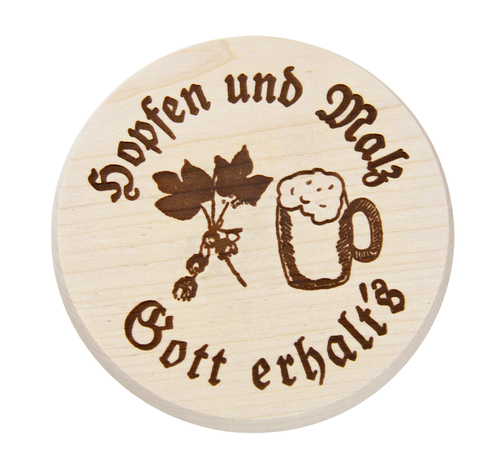 Beer Mug Cover with Hopfen und Malz stamped decoration