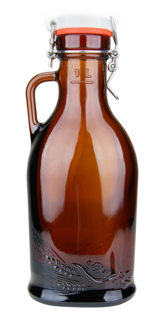 1 Liter Beer Growler with Porcelain Flip Top & Rubber Gasket & Glass Handle