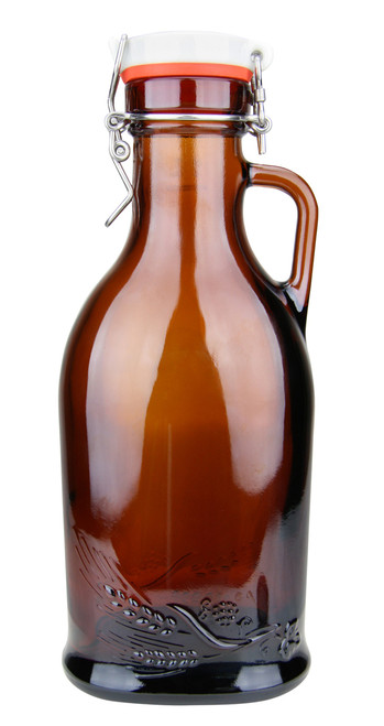 Hops & Wheat Embossed 1L German Beer Growler with Flip Top