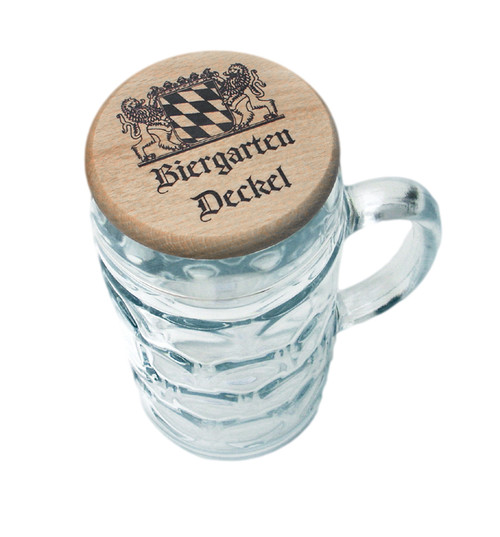 Wood Beer Mug Cover on 1L Mug, Showing Bavarian Crest on Lid