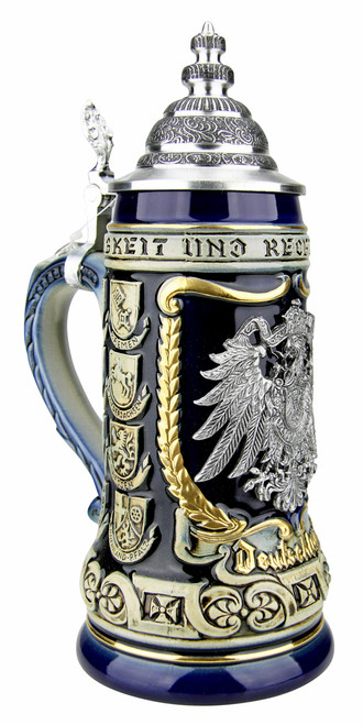 German Eagle Crests Beer Stein Blue