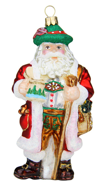 Bavarian Santa with Beer Stein Glass Christmas Ornament